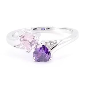 Jewelry - Sterling Silver Pink Topaz & Amethyst Hearts Ring
